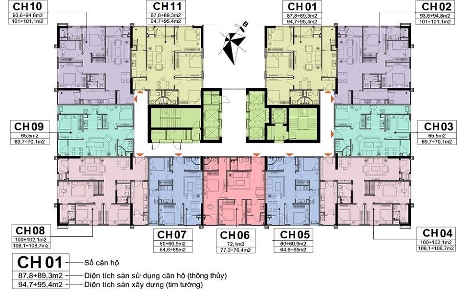 sơ đồ mặt bằng chung cư a10 nam chung yên